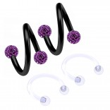 2pc 16g Spiral Cartilage Barbell Lip 16 Gauge Eyebrow Ear Twister Belly Bars Helix Twist Daith Button Ring Navel Victoria Clit Hood Earring Hoop Tragus - Amethyst 8mm