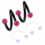 2pc 16g Spiral Cartilage Barbell Lip 16 Gauge Eyebrow Ear Twister Belly Bars Helix Twist Daith Button Ring Navel Victoria Clit Hood Earring Hoop Tragus - Rose 8mm