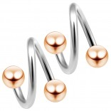 2pc 14g Twister Surgical Steel Eyebrow Lip Bar Tragus Twist Earring Ring Spiral Barbell Piercing 3/8