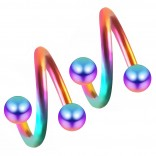 2pc Rainbow 16g Surgical Steel Twisted Barbell 3mm Ball Spiral Cartilage Earrings Lip Tragus Eyebrow Hoop Helix - 6mm