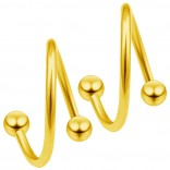 2pc Gold 18g Surgical Steel Twisted Barbell 3mm Ball Spiral Cartilage Earrings Lip Tragus Eyebrow Hoop Helix - 10mm
