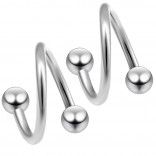 2pc Surgical Steel 20g Surgical Steel Twisted Barbell 3mm Ball Spiral Cartilage Earrings Lip Tragus Eyebrow Hoop Helix - 6mm