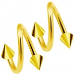 2pc Gold 16g Surgical Steel Twisted Barbell 3mm Spike Spiral Cartilage Earrings Lip Tragus Eyebrow Hoop Helix - 8mm