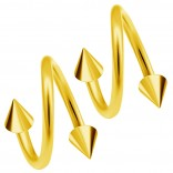 2pc Gold 20g Surgical Steel Twisted Barbell 3mm Spike Spiral Cartilage Earrings Lip Tragus Eyebrow Hoop Helix - 6mm