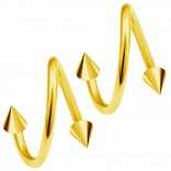 2pc Gold 20g Surgical Steel Twisted Barbell 3mm Spike Spiral Cartilage Earrings Lip Tragus Eyebrow Hoop Helix - 8mm